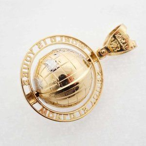 Mens 10K Yellow Gold World is Yours Pendant Charm